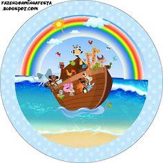 Arca de Noé - Kit Completo com molduras para convites, rótulos para guloseimas, lembrancinhas e imagens!
