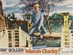 Lobby card of Ray Bolger in the film WHRE'S CHARLEY