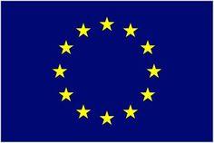 Grunge Flag Of Europe on crumpled paper background. Vintage effect art