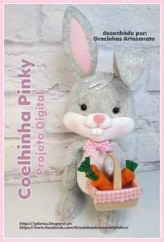 Felt bunny pattern made by Gracinhas artesanato