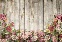 Mur En Bois, Roses, Arrière Plan, Vintage, Shabby Chic
