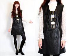 Vtg 60s 70s Black Leather Buckle Mod Go-Go Goth Pinafore Mini Dress M