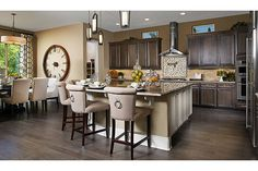 Monte Bello at Summerlin by Richmond American Homes in Las Vegas, Nevada Kitchen Dining Combo, Kitchen Ideas, New Home Developments, Townhouse Apartments, Richmond American Homes, Maple Kitchen, New Home Builders, Model Homes, First Home