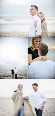 Wrap up in a blanket the beach for your engagement photos.