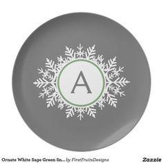 Ornate White Sage Green Snowflake Monogram Gray Dinner Plate  sc 1 st  Pinterest & Intricate Bright Teal Heart Pattern Against Gray Dinner Plate | My ...