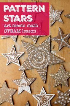 math stars - STEAM lesson plans exploring patterns - a math and art lesson plans - gorgeous star craft too!exploring patterns - a math and art lesson plans - gorgeous star craft too! Art For Kids, Crafts For Kids, Arts And Crafts, Math Crafts, Kid Art, Kids Fun, Diy Crafts, Christmas Activities, Christmas Crafts