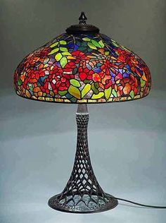 "Original Tiffany Lamps | The 22"" Trumpet Vine Tiffany lamp, Design of Tiffany-Studios NY"