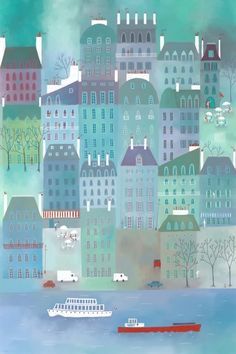 Paris Blues Art Print by Squirrell | Society6