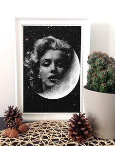 Marilyn Monroe art print space wall art by MyLettersOnTheWall