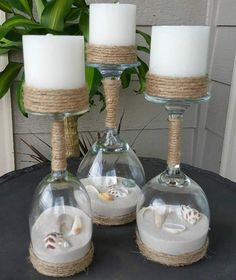 Seashell and Sand Glass Wine Candle Holder (Set of - # .- Muschel und Sand Glas Wein Kerzenhalter Set) – Shell and Sand Glass Wine Candle Holder (Set of – # 3 you - Seashell Crafts, Beach Crafts, Diy And Crafts, Seashell Projects, Sand Crafts, Simple Crafts, Recycled Crafts, Felt Crafts, Wine Glass Crafts
