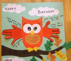 """Happy birthday card handprint art.  """"With love from 'OWL' of us"""""""
