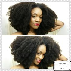 Textured natural kinky curly human hair extensions clip ins from hergivenhair.com