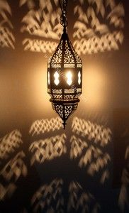 Hanging Moroccan Lantern with White Glass