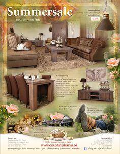 Advertentie in Landleven: Summersale  Landelijke woonkamer, eetkamer en dressoir van hetzelfde meubelprogramma. Cadeauwinkel & decoratie. Outdoorkleding. Scheepslamp.