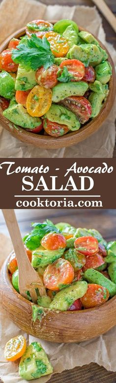 Avocado Tomato Salad Healthy and so flavorful, this Tomato Avocado Salad makes a great addition to your dinner or lunch. This is one of the most loved recipes in my family! Healthy Diet Recipes, Whole Food Recipes, Healthy Snacks, Vegetarian Recipes, Healthy Eating, Cooking Recipes, Recipes Dinner, Dinner Healthy, Alkaline Recipes