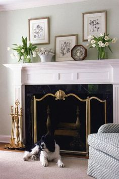 Are you considering decorating your fireplace mantle? Decorating your fireplace mantel symmetrically is a great way to bring balance to your living room. Because the fireplace mantle is considered the focal point of the room it can seem intimidating to decorate. Keep reading as we share 10 ideas for how to decorate your fireplace mantel like a pro. Hadley Court Interior Design Blog by Central Texas Interior Designer, Leslie Hendrix Wood Modern Fireplace Mantels, Fireplace Set, Traditional Fireplace, Fireplace Screens, Fireplace Design, Fireplace Ideas, Decorative Fireplace, Brick Fireplaces, Mantel Ideas