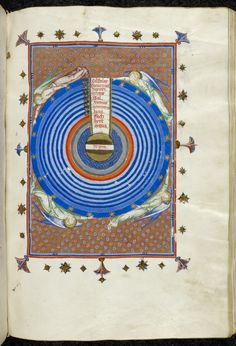 Circular diagram of the spheres of the Ptolemaic system, including the four elements, the seven planetary spheres, and the sphere of fixed stars, with four angels surrounding them, from Matfré Ermengau of Béziers's Breviari d'Amour, Spain (Gerona?), c. 1375-1400, Yates Thompson 31, f. 66r .