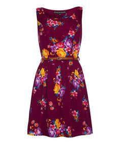 Purple & Yellow Floral Sleeveless Dress #zulily #zulilyfinds