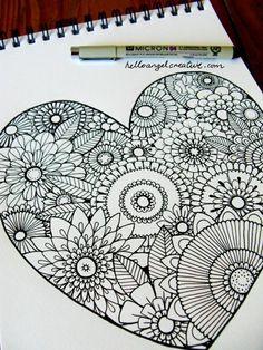 mandalas für erwachsene herz form zeichnung
