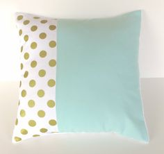 Mint gold metallic dot pillow cover - minky baby nursery pillow - gender neutral - mint green nursery - 16 x 16 - modern baby shower gift
