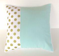Mint gold metallic dot pillow cover - minky baby nursery pillow - gender neutral - mint green nursery