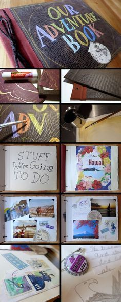 real life adventure book from Up! This is just to adorable :) this would make a great anniversary present Cute Birthday Gift, Birthday Gifts For Best Friend, Best Friend Gifts, Bf Gifts, Diy Gifts For Boyfriend, Love Gifts, Craft Gifts, Up Adventure Book, Anniversary Scrapbook