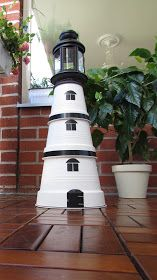 Oma Pajukori VillaTuta: Mach es dir selbst als Leuchtturm Grandma Pajukori VillaTuta: Do it yourself as a lighthouse Clay Pot Projects, Clay Pot Crafts, Beach Crafts, Summer Crafts, Garden Crafts, Diy Garden Decor, Clay Pot Lighthouse, Potted Plants Patio, Clay Pot People