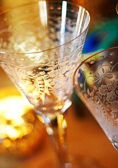 Maharani stemware collection from Moser ~ love the etched glass