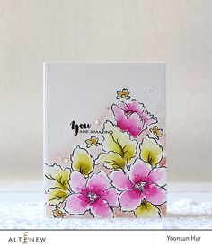 It's Yoonsun here and today I have a watercolored flower card to share with you using the Hibiscus Bouquet stamp set. Scrapbook Expo, Scrapbooking, Hibiscus Bouquet, Altenew Cards, Ink Splatter, Beach Cards, You Are Amazing, Watercolor Cards, Flower Cards