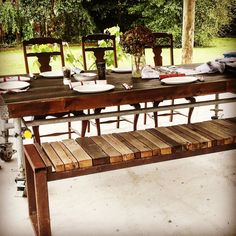 Recycled timber, steel. My Furniture, Outdoor Furniture, Outdoor Tables, Outdoor Decor, Recycling, Pottery, Steel, Home Decor, Ceramica