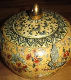 Chinese Gold Embossed Hand-Painted Urn with Red Diamond 'made in china' pottery mark with tea cup logo: Chinese Gold Embossed Hand-Painted Urn with Red Diamond 'made in china' pottery mark with tea cup logo:-  Hello! My husband and I acquired this gorgeous