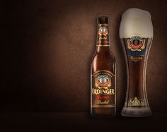 Carefully selected dark malts with delicate roasting aromas give ERDINGER Dunkel its full-bodied flavor and strong character. Dark Beer, Wheat Beer, Malted Barley, Marinated Steak, German Beer, Brewery, Dads, Drinks, Darkness