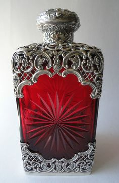 WILLIAM COMYNS VICTORIAN STERLING SILVER MOUNTED RUBY CRYSTAL SCENT BOTTLE