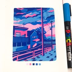 I love how the artist used a limited palette and still accomplished a lot of clarity between objects. The colors themselves are also just very pleasant and give the drawing a mood. Marker Kunst, Posca Marker, Marker Art, Art And Illustration, Illustrations, Kunst Inspo, Art Inspo, Pretty Art, Cute Art
