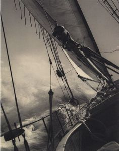 Stormy Seas, 1938 ~by John R. Hogan  http://apostrophe9.tumblr.com/post/5637776207/crossing-the-stream-1938-by-john-r-hogan