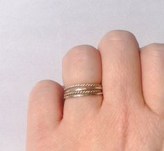 Stacking rings, sterling silver, set of 4, knuckle rings, twist stacking rings