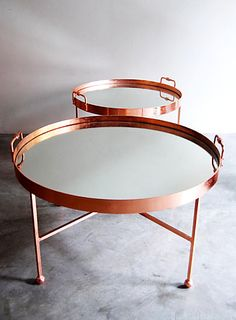 copper and mirror coffee table