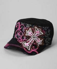 Take a look at this Black & Pink Rhinestone Cross Newsboy Hat by Rhinestone Junkie on #zulily today!