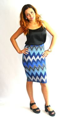 Blue aztec print pencil skirt
