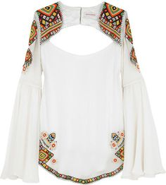 ShopStyle: Matthew Williamson Bead embellished cut out blouse