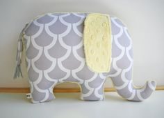 Modern+gray+and+yellow+nursery+decor+Elephant+Pillow+by+bakerbaby,+$33.00