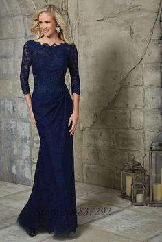 Navy Long Sleeve Mother of the Bride Dresses