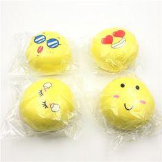 Giggle Bread Squishy Yellow Emoji Bun Bread 9cm Slow Rising Phone Bag Strap Collection Deocor Gift