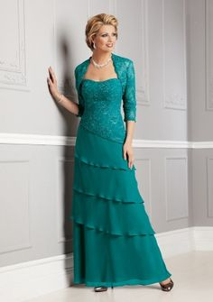 A-line Strapless Floor-length in Chiffon Lace Mother of the Bride Dress
