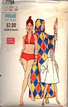 Vogue 7793  1970s Misses Hooded  Caftan Cover Up and Halter Bikini womens vintage sewing pattern by mbchills