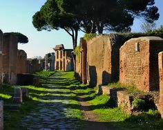 Lazio Italia - Ostia Antica - port 4thC BC - 9thC AD - abandoned ruined ancient insula and other buildings.