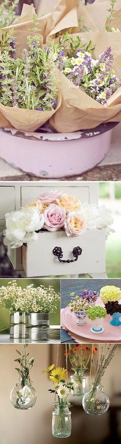 Ideas para colocar las flores en las bodas. Wedding flowers