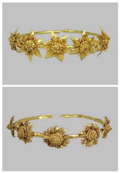 1. Diadem with rosettes, 3rd- 2nd Centuries B.C. Gold: soldering, forging, dragging of wire, granulation. / 2. Diadem with rosettes, 3rd Century B.C. Gold: forging, punching, soldering, turning of wire. GREEK.