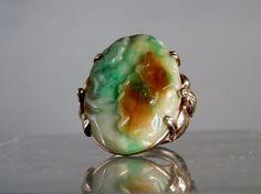 14k Gold Jade Ring Vintage Jadeite Jade Flower and Leaf Designs 3 Color Fine Quality Size 6.5 Gold Ring DanPickedMinerals