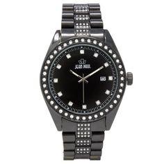 Jean Paul 52mm Oversized Black, Diamond Ice Men's Watch